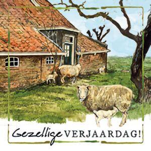 Kaart R. Poortvliet B Gezellige Verjaardag Schapen