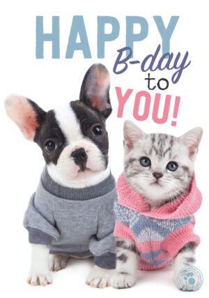 Kaart Myrna ENG Happy B Frech B & Kitten (v)