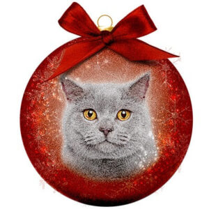 Kerstbal Frosted Classic Cat grey