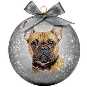 Kerstbal Frosted Classic French Bulldog