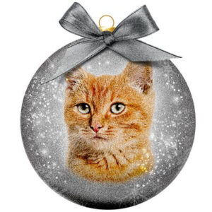 Kerstbal Frosted Classic Cat Red