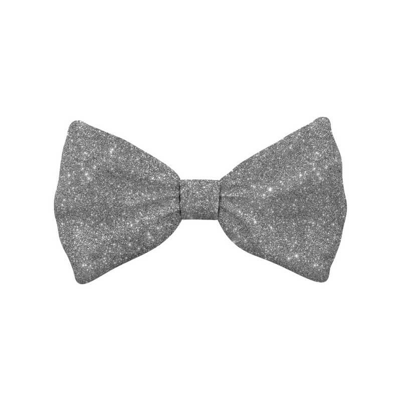 Bow Tie Glitter Silver Dog L