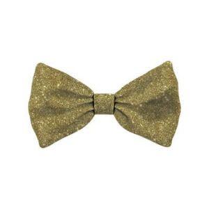 Bow Tie Glitter Gold Dog L