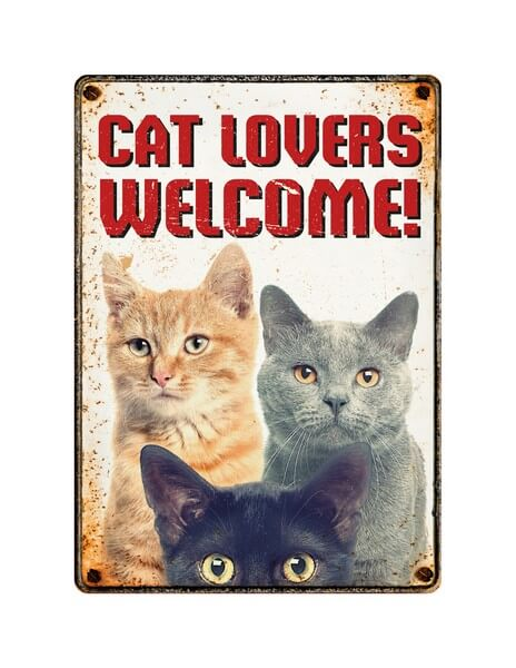 Sign Metal Cat Lovers Welcome