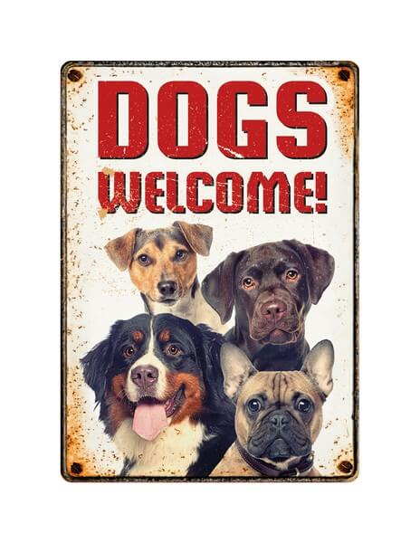 Sign Metal Dogs Welcome