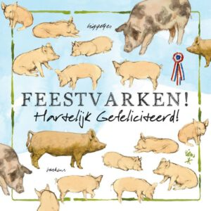 Kaart R. Poortvliet Boerderij Feestvarken